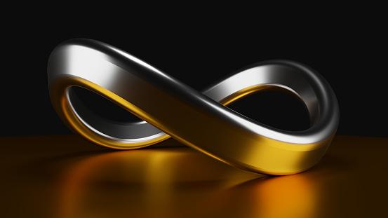 Gold and silver infinite symbol on dark background. 3D illustration render