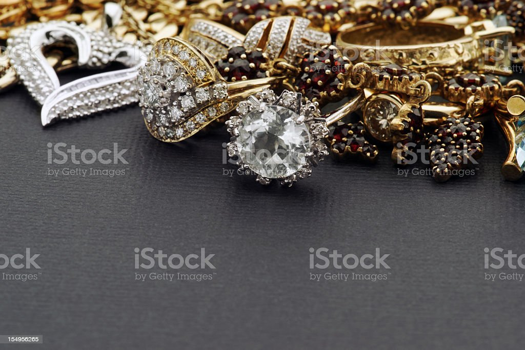 Gold and Silver Jewelry stock photo