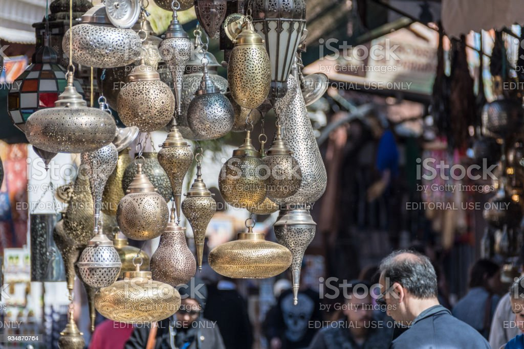 Gold and silver lanterns in a souk stock photo