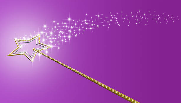 gold and silver magic wand with sparkles - fairy wand stock photos and pictures