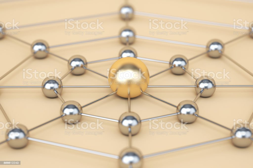 Gold and silver network concept stock photo