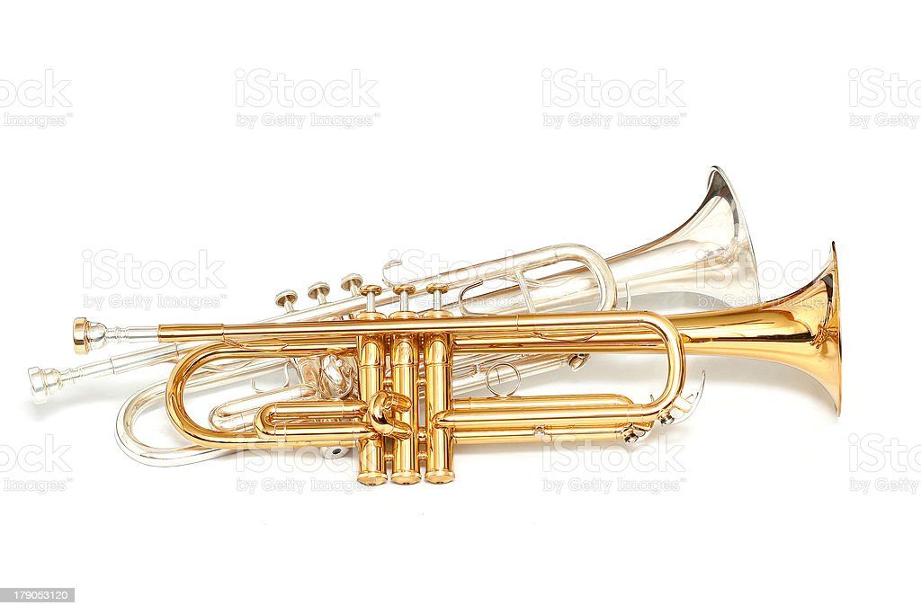 gold and silver trumpets royalty-free stock photo
