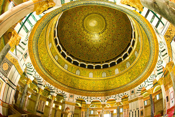 Gold and white high ceilings of the Dome of the Rock the interior view of dome of the rock,Jerusalem dome of the rock stock pictures, royalty-free photos & images