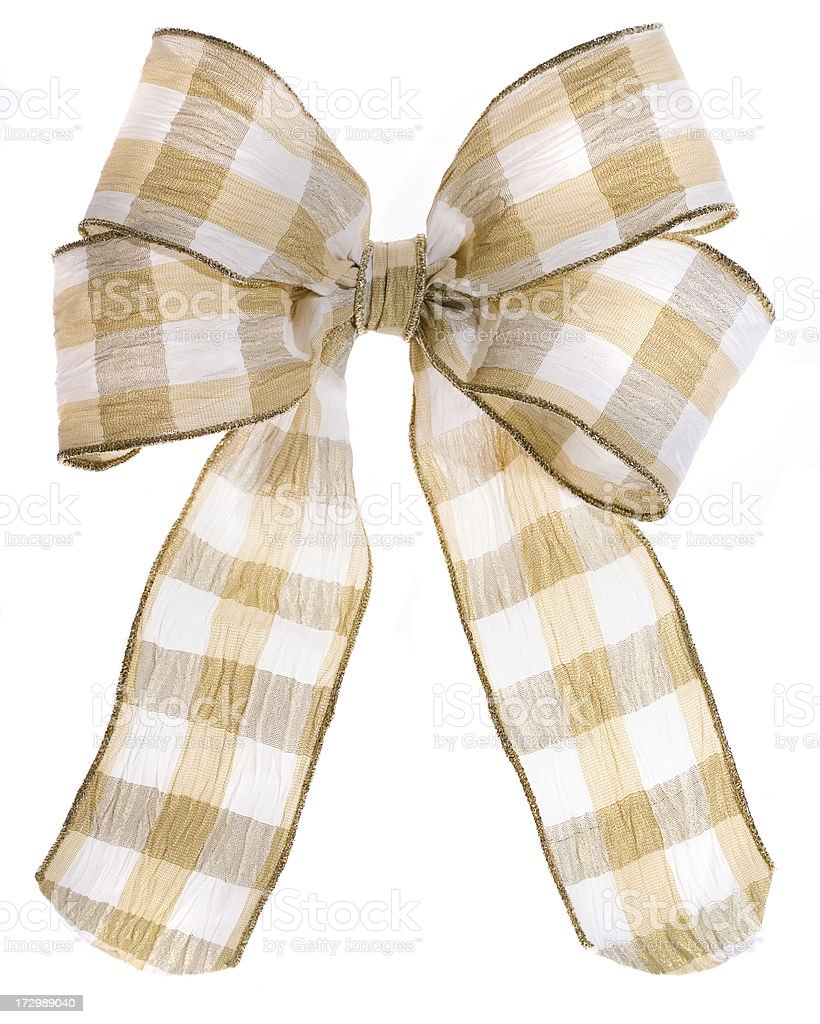 Gold and White Plaid Bow (XXL) stock photo