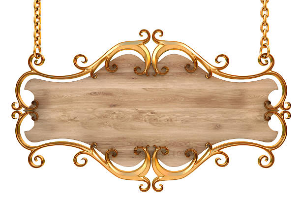 A gold And wood blank hanging sign stock photo