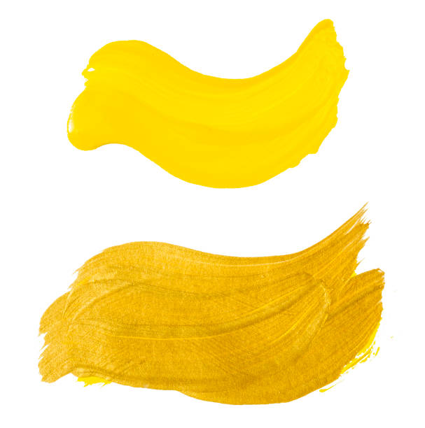 Gold and yellow acrylic brush strokes - foto stock