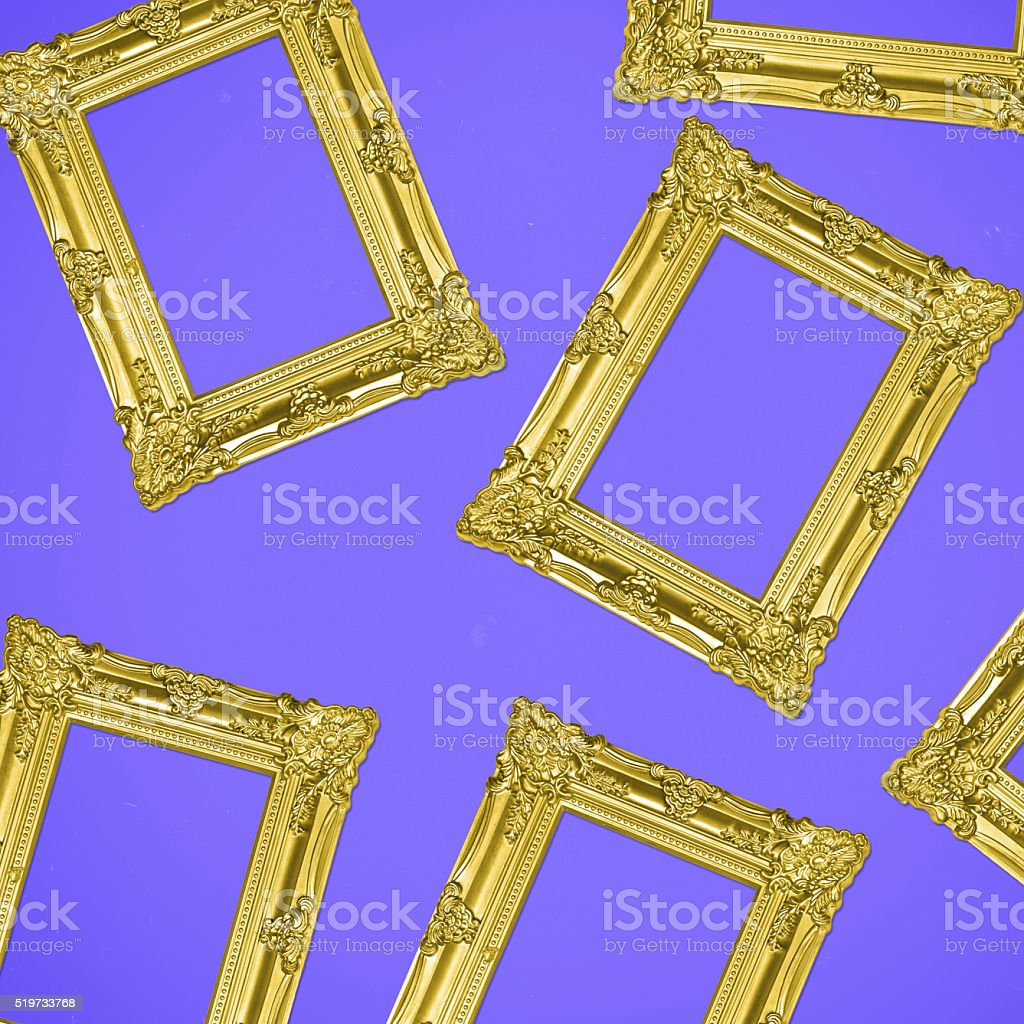 Gold Antique Photo Frames Collage On Purple Background Stock Photo