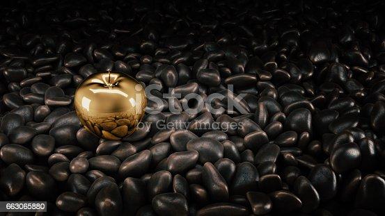 istock Gold apple. 3d rendering 663065880