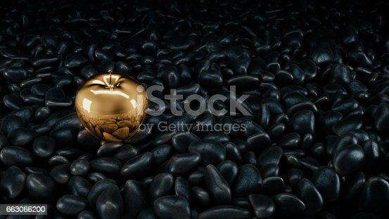 istock Gold apple. 3d rendering 663066200
