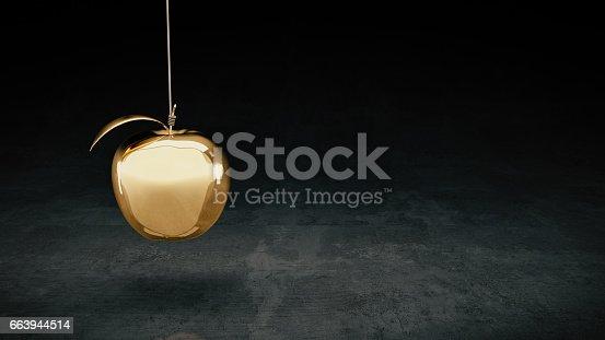 istock Gold apple. 3d rendering 663944514