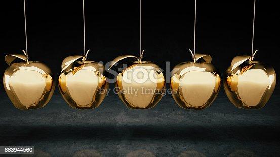 istock Gold apple. 3d rendering 663944560