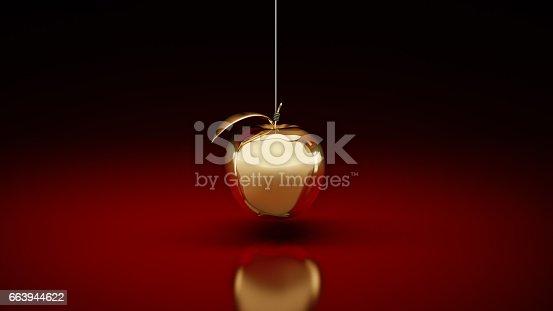 istock Gold apple. 3d rendering 663944622