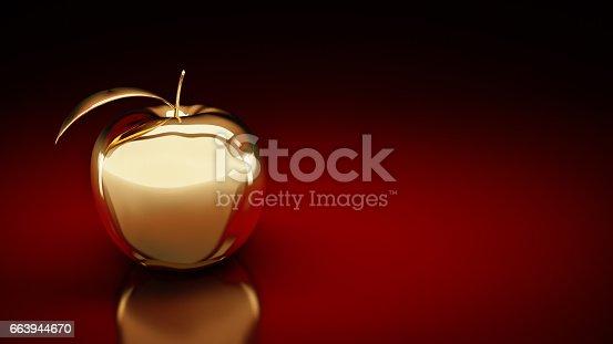 istock Gold apple. 3d rendering 663944670