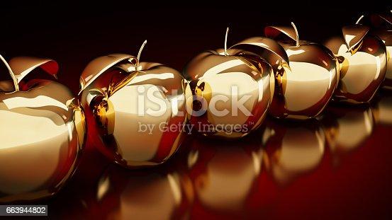 istock Gold apple. 3d rendering 663944802