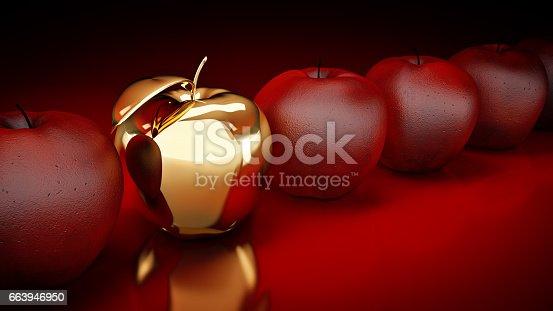 istock Gold apple. 3d rendering 663946950