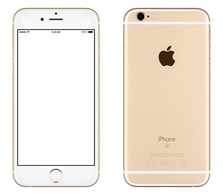 istock Gold Apple iPhone 6s mockup front view and back side 505490134