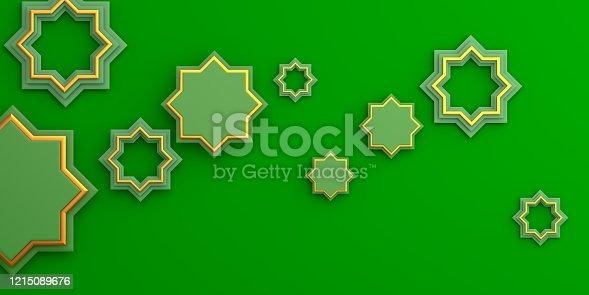 istock Gold arabic geometric star ornament on green background. Design creative concept of islamic celebration day ramadan kareem or eid al fitr adha, copy space text area, 3D rendering illustration. 1215089676