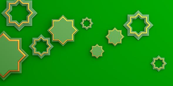 1142531551 istock photo Gold arabic geometric star ornament on green background. Design creative concept of islamic celebration day ramadan kareem or eid al fitr adha, copy space text area, 3D rendering illustration. 1215089676
