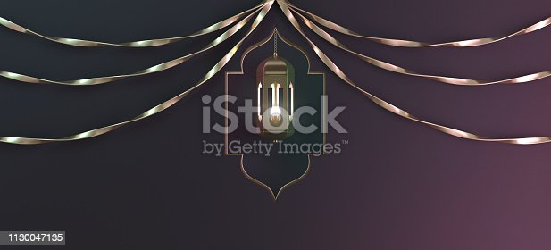 istock Gold arabic hanging lantern with ribbon and window on black gradient background. 1130047135
