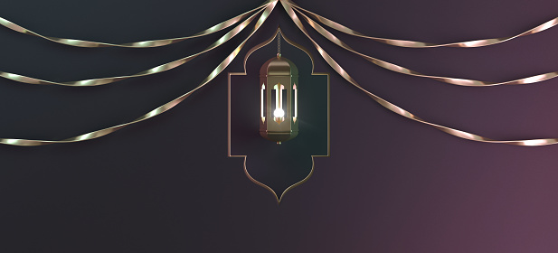 1142531551 istock photo Gold arabic hanging lantern with ribbon and window on black gradient background. 1130047135