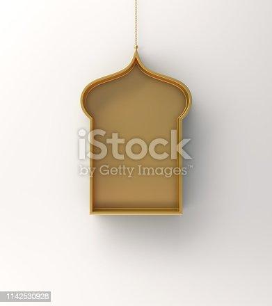 1142727715istockphoto Gold arabic hanging window shelf on white background. 1142530928