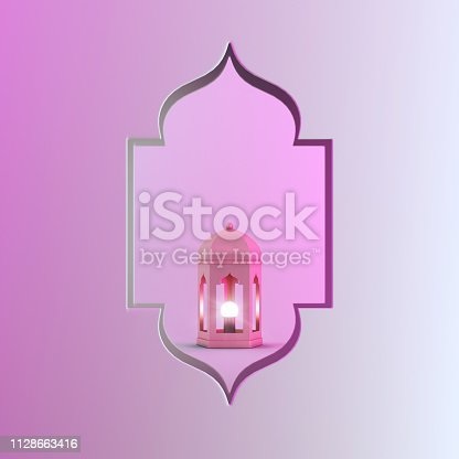 1142531551istockphoto Gold arabic lantern and window on pink gradient vibrant background copy space text. 1128663416