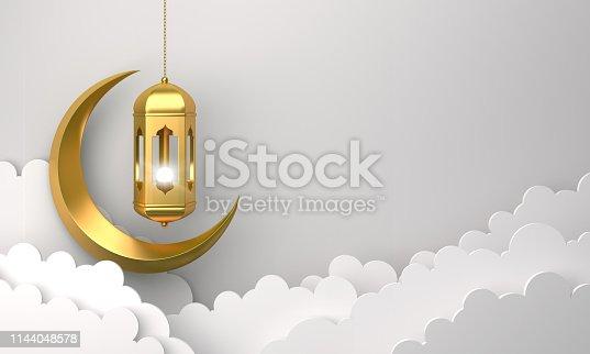 1130047135istockphoto Gold arabic lantern, cloud, crescent, on white background. 1144048578