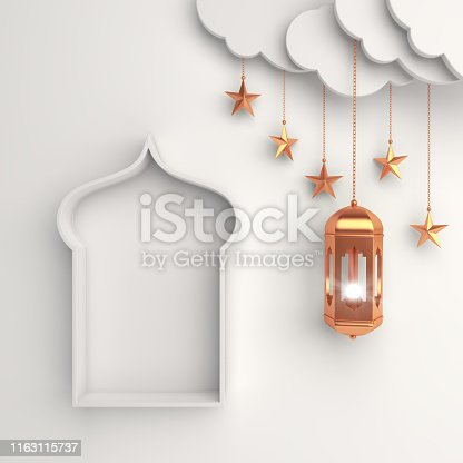 istock Gold arabic lantern, cloud, star, window on white background copy space text. Design concept of islamic celebration day ramadan kareem or eid al fitr adha, hajj, hijri, mawlid. 1163115737