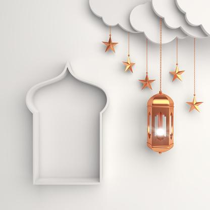 istock Gold arabic lantern, cloud, star, window on white background copy space text. Design concept of islamic celebration day ramadan kareem or eid al fitr adha, hajj, hijri, mawlid. 1163115737