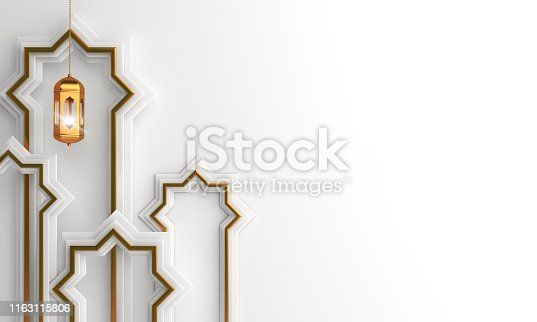 istock Gold arabic lantern, cloud, window on white background copy space text. Design concept of islamic celebration day ramadan kareem or eid al fitr adha, hajj, hijri, mawlid. 1163115806