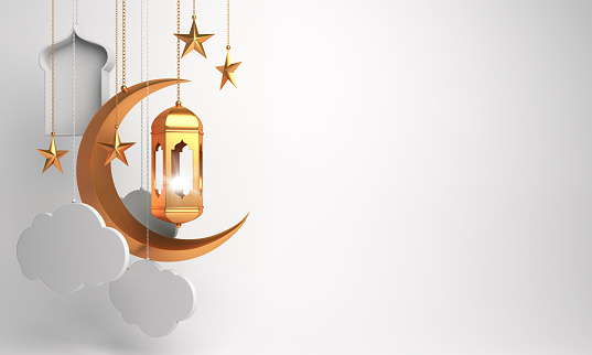 istock Gold arabic lantern, crescent, cloud, star, window on white background. 1163853729