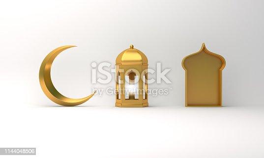 1130047135istockphoto Gold arabic lantern, crescent moon, window on white background. 1144048506