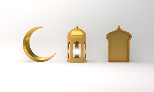 1142531551 istock photo Gold arabic lantern, crescent moon, window on white background. 1144048506