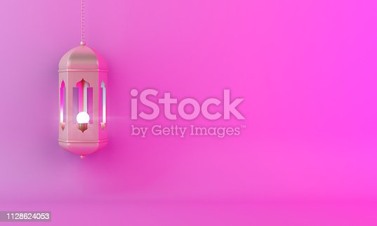 1140668282istockphoto Gold arabic lantern on pink gradient pastel background copy space text. 1128624053