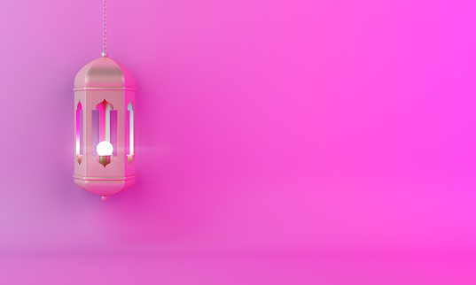 1142531551 istock photo Gold arabic lantern on pink gradient pastel background copy space text. 1128624053