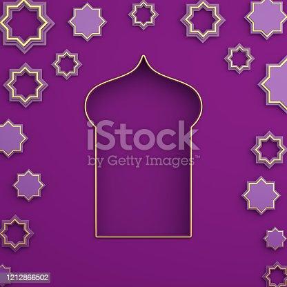 istock Gold arabic window and star on purple violet color background. Design creative concept of islamic celebration day ramadan kareem or eid al fitr adha. 3D rendering illustration. 1212866502