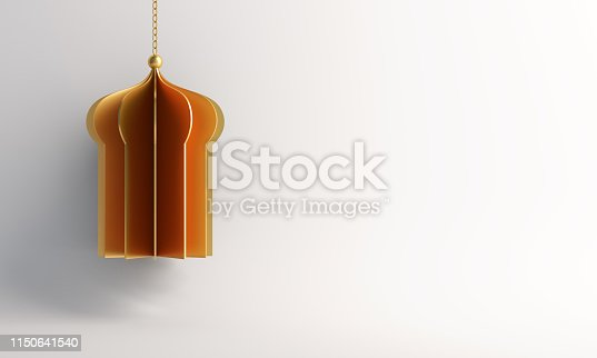 1142531551istockphoto Gold arabic window or mosque paper cut on white background. 1150641540