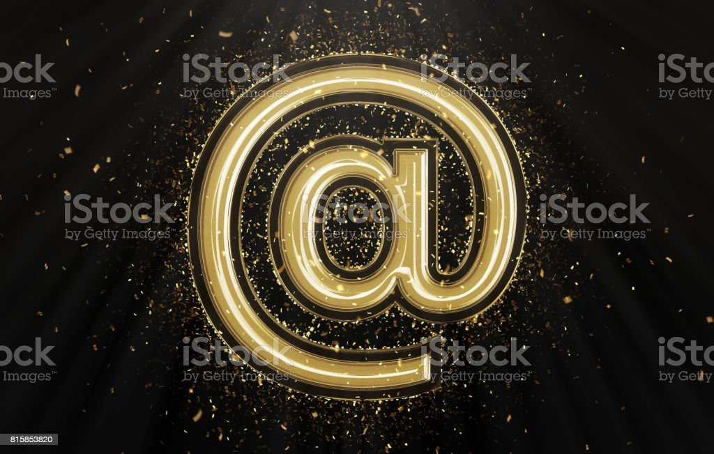 Gold at symbol with confetti stock photo