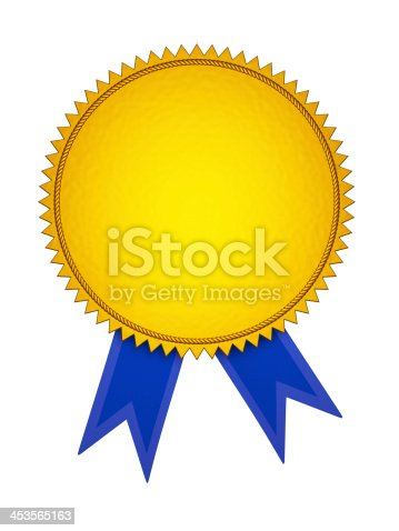 istock Gold Award Medal with Blue Ribbon 453565163