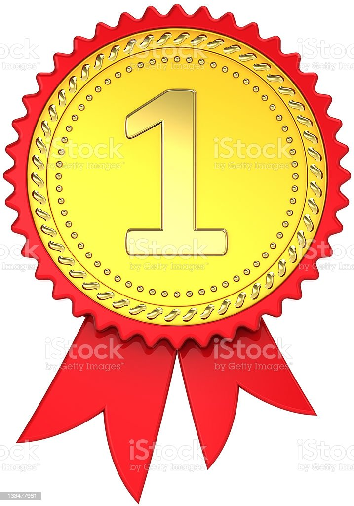 Gold award ribbon first place medal champion pride royalty-free stock photo