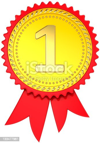 istock Gold award ribbon first place medal champion pride 133477981