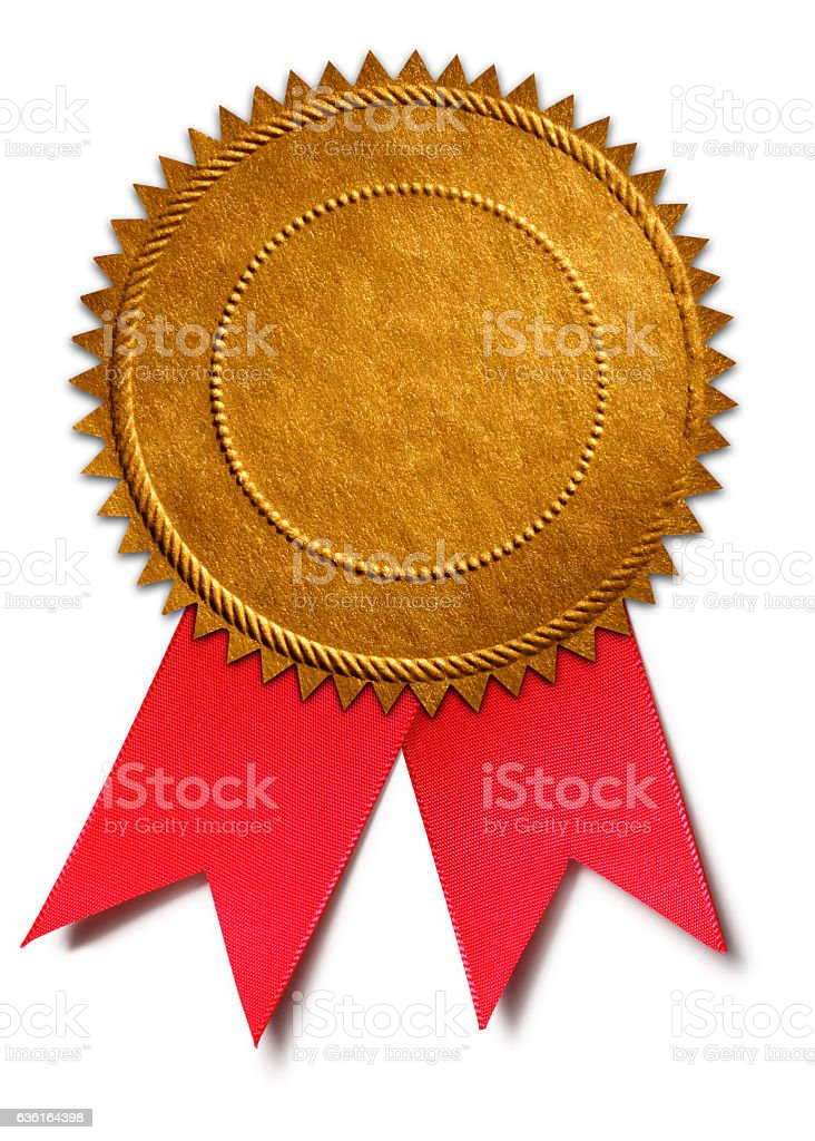 Gold Award Seal With Red Ribbon stock photo