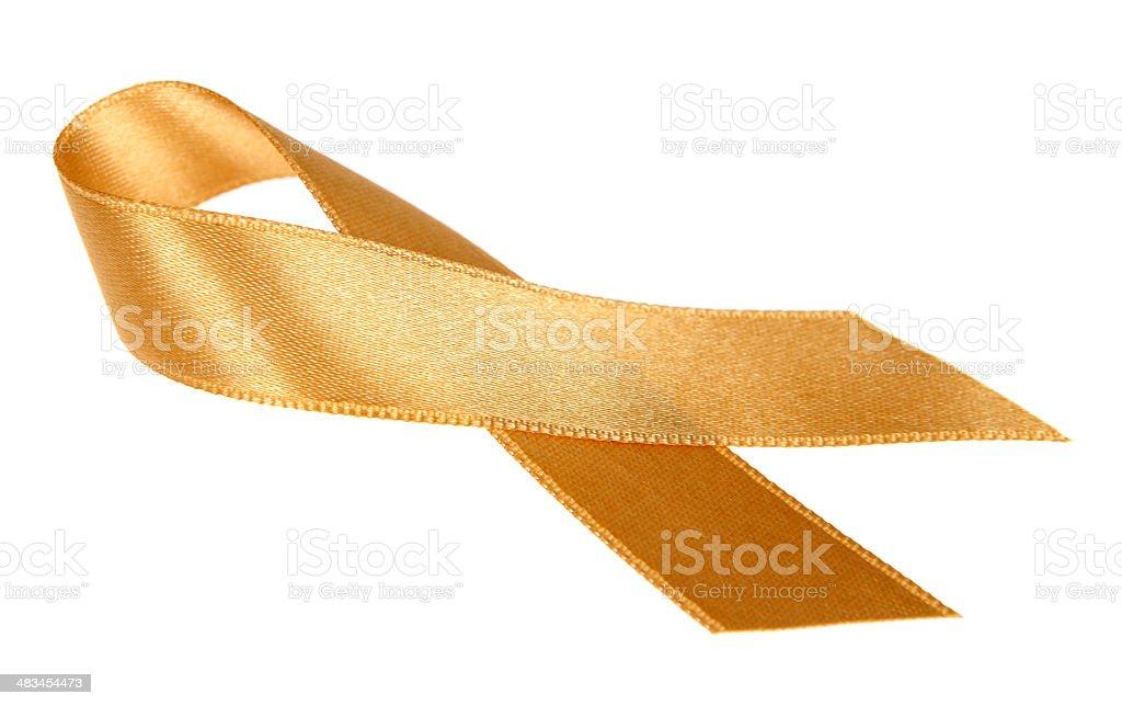 Gold Awareness Ribbon stock photo
