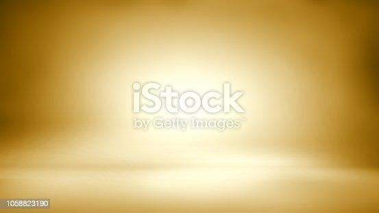 istock Gold background - empty background - empty studio room 1058823190