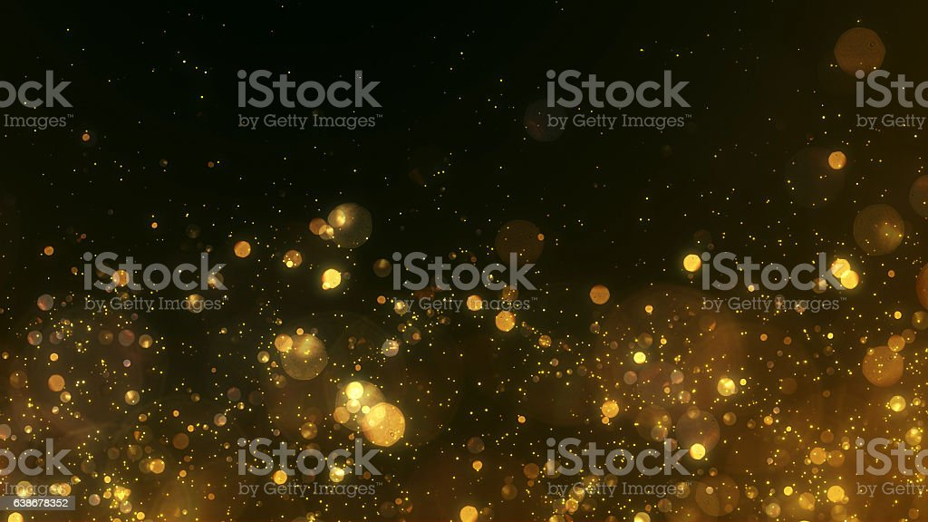 Gold background Gold, Sparks, Glitter, Particle, Gold Colored, Lighting Equipment, Christmas, Christmas Lights, Holiday - Event, Celebration Event Abstract Stock Photo