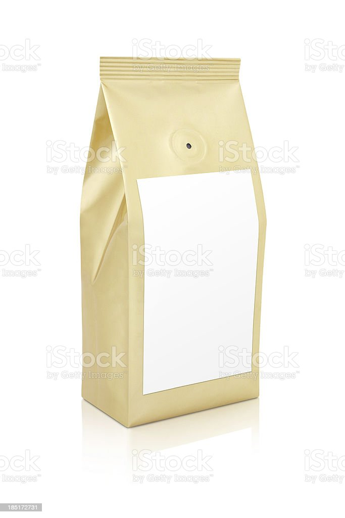 Gold bag of gourmet coffee stock photo