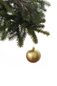 istock Gold Ball Hanging on a Christmas Tree 668264754