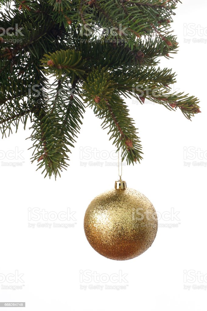 gold ball on a christmas tree foto stock royalty-free