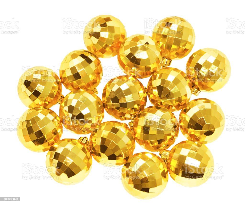 Gold ball on white background stock photo