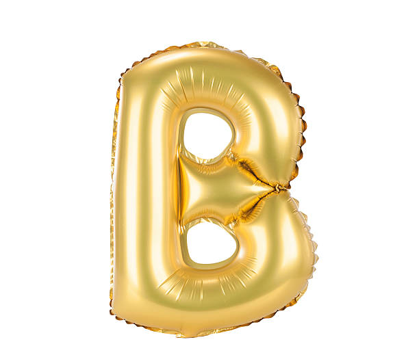 Gold balloon font part of full set a letters, B stock photo